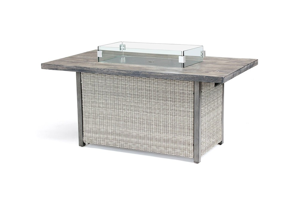 Kettler Palma Rectangular Fire Pit Table - White Wash