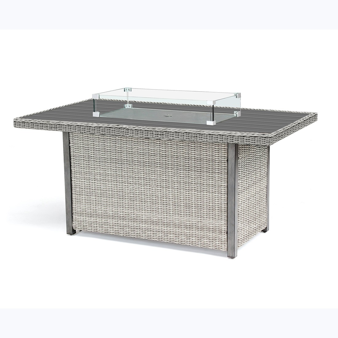Kettler Palma Fire Pit Table with Aluminium Top - White Wash