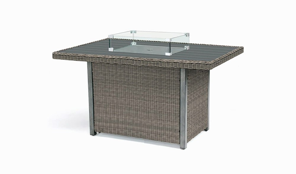 Kettler Palma Mini Fire Pit Table with Aluminium Top - Rattan