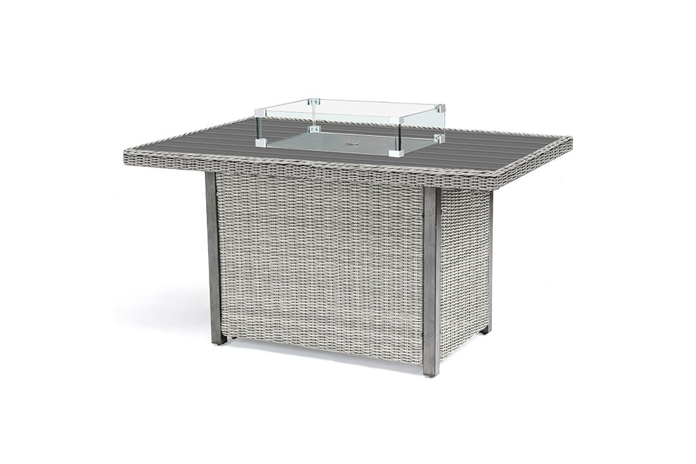 Kettler Palma Mini Fire Pit Table with Aluminium Top - White Wash