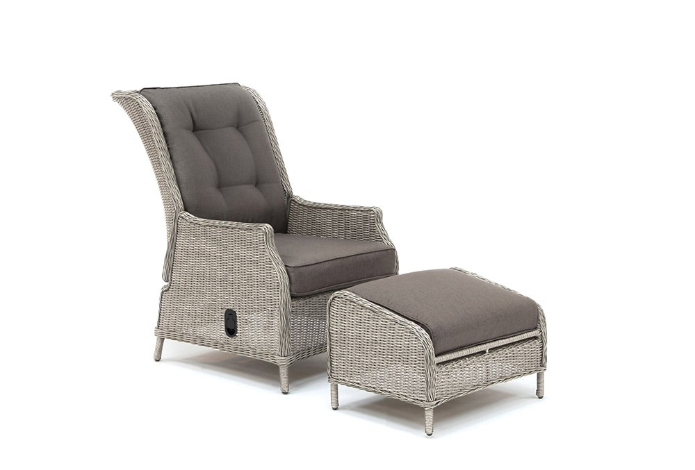 Kettler Palma Classic Recliner with Footstool - White Wash