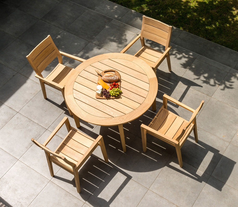 Alexander Rose Roble 4 Seat Stacking Armchair Round Set