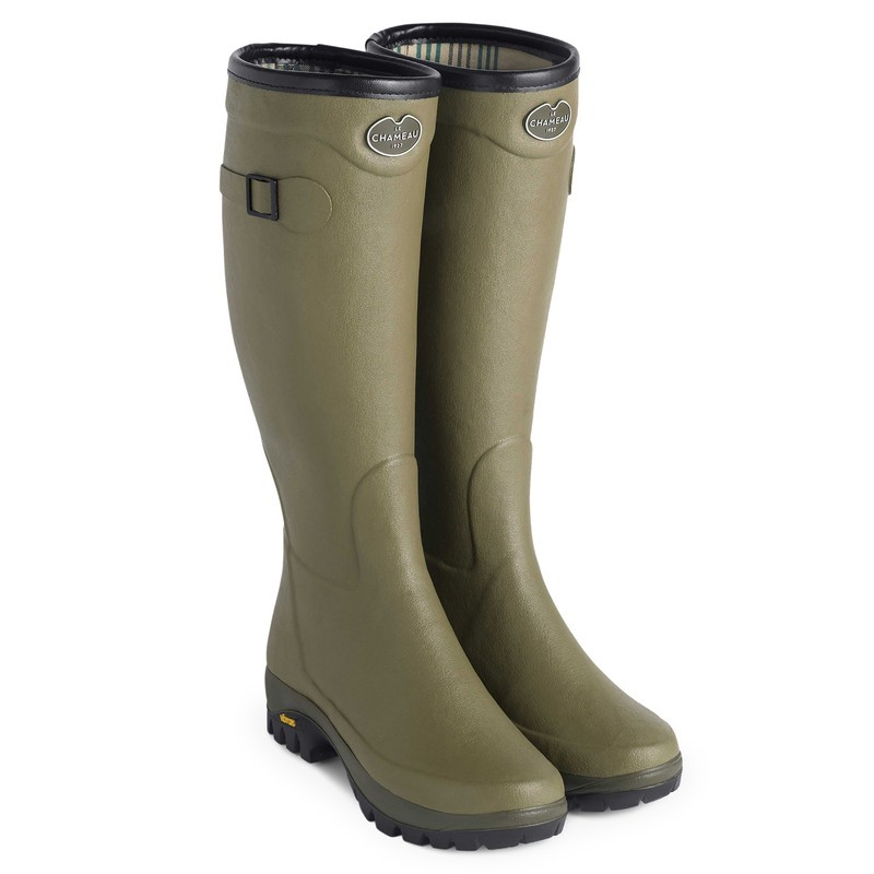 Le Chameau Womens Country Vibram Jersey Lined Boot - Vert Vierzon Size 5 UK