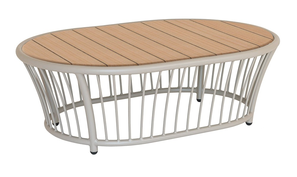 Alexander Rose Cordial Beige Oval Coffee Table - Roble Top