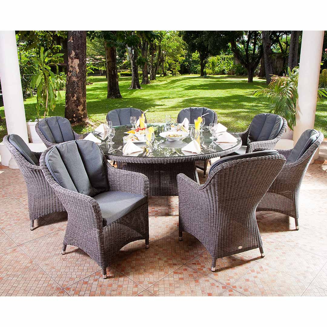 Alexander Rose Monte Carlo Grey 8 Seat Closed Weave Armchair Set