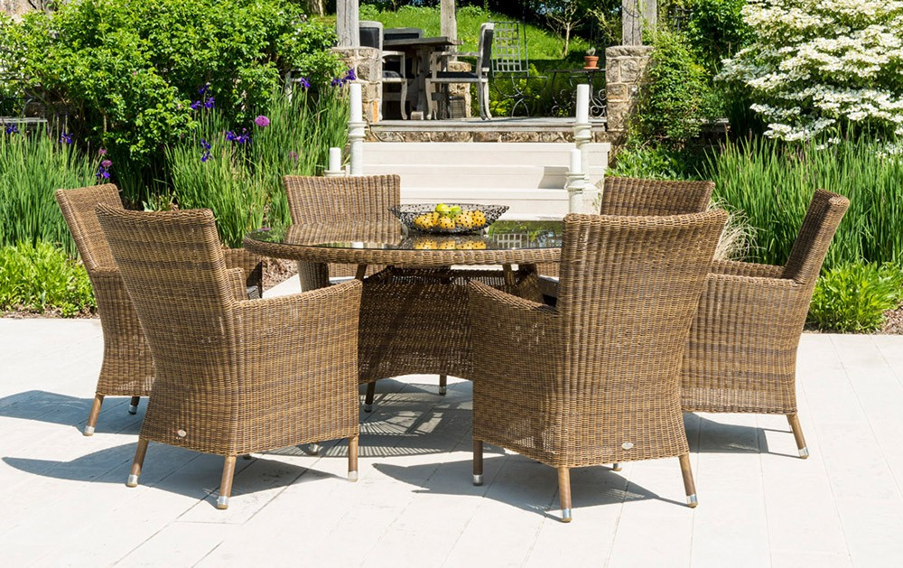 Alexander Rose San Marino 6 Seat Squared Top Armchair Set with Round Table