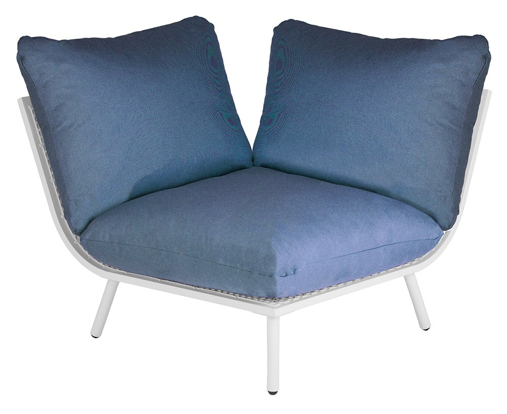 Alexander Rose Beach Lounge Corner Shell with Blue Cushions