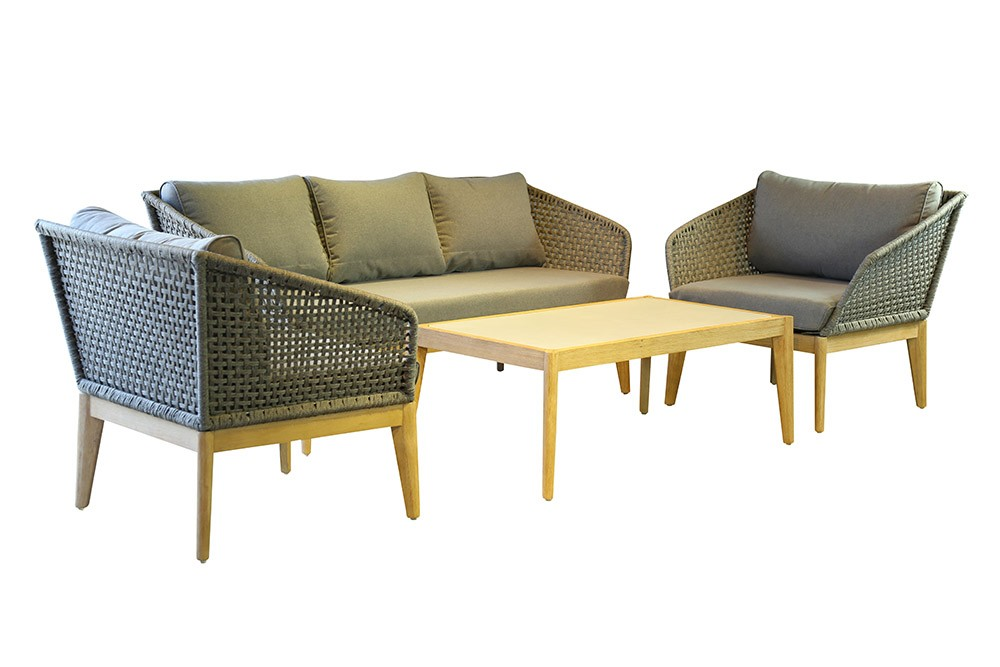 LG Outdoor Belize Rope and Eucalyptus Lounge Set