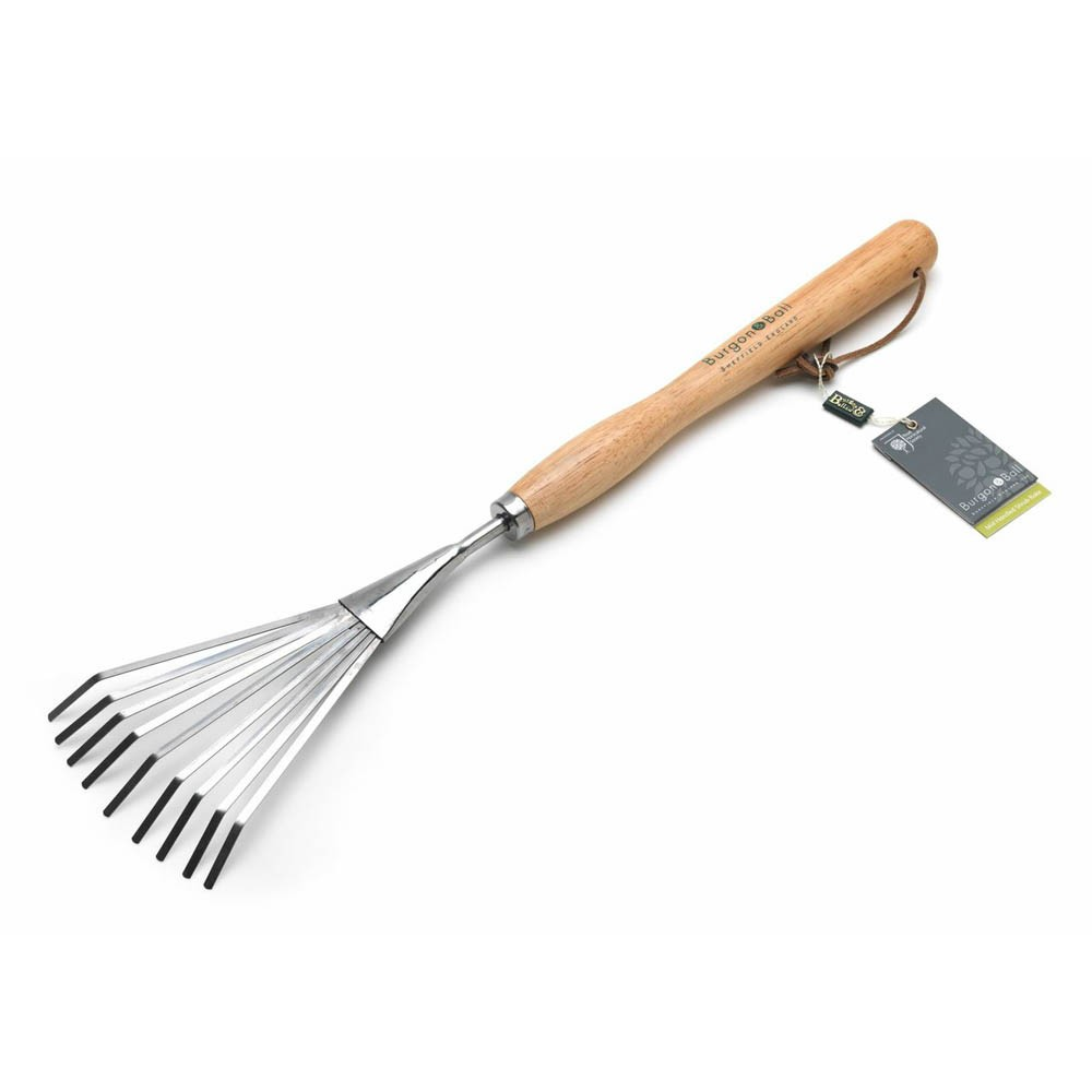 RHS Stainless Mid Handled Shrub Rake by Burgon and Ball