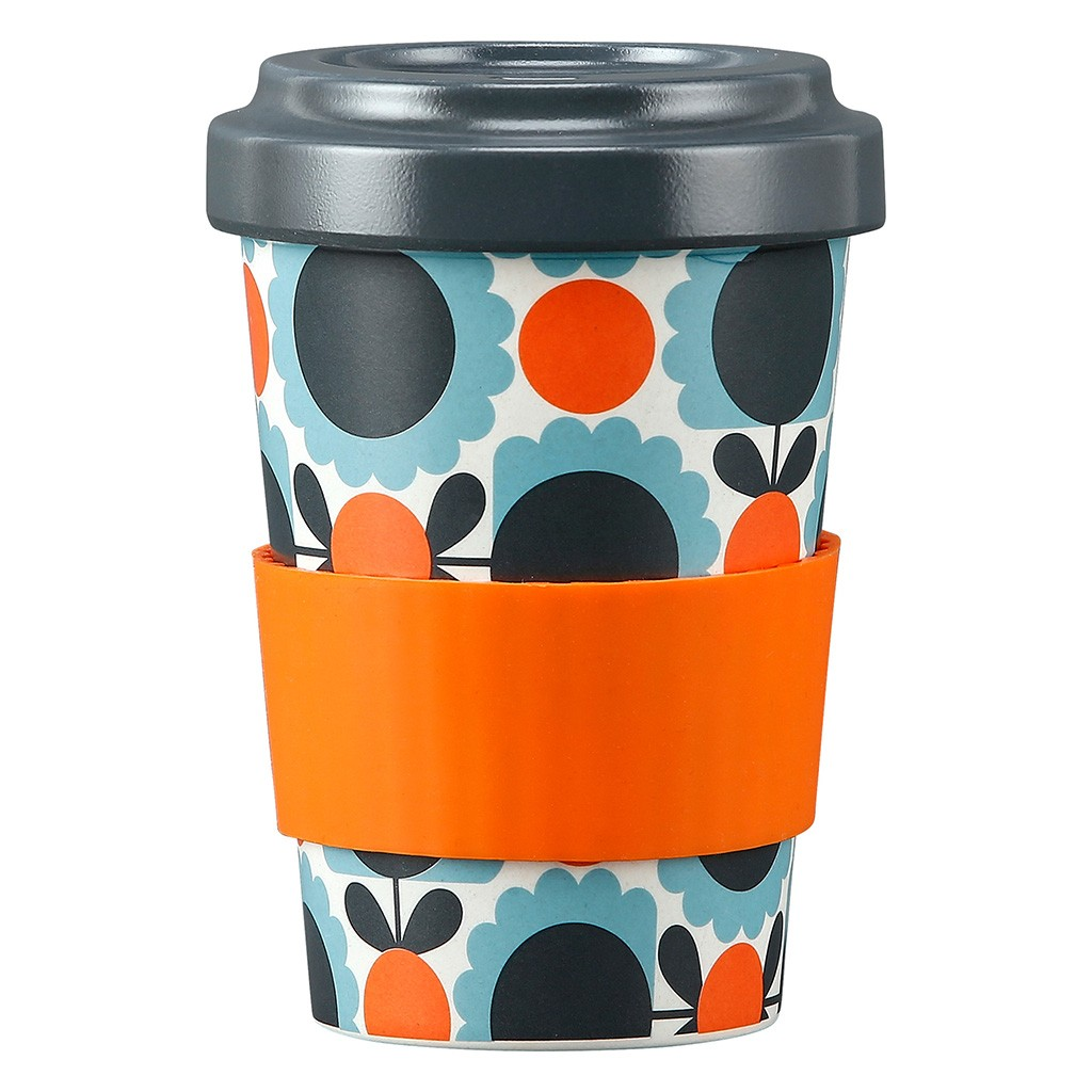 Orla Kiely Bamboo Travel Cup - Scallop Flower Sky