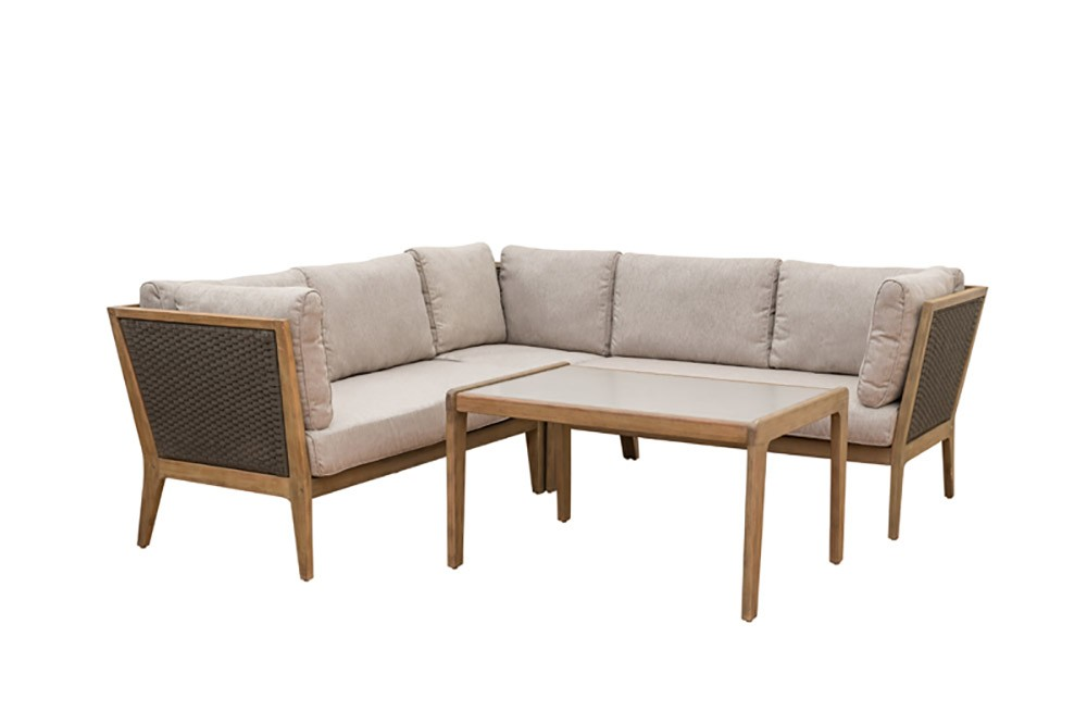 LG Outdoor Panama Rope and Eucalyptus Wood Lounge Corner Sofa Set