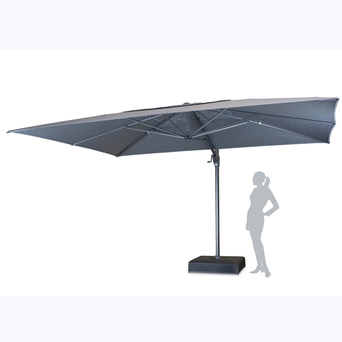 Kettler Parasol Free Arm 4m x 3m in Slate
