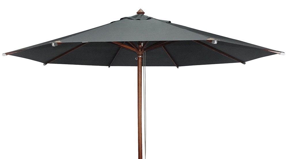 Alexander Rose Luxe Hardwood 3.5m Round Parasol - Charcoal