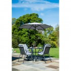 Alexander Rose Portofino High Back 4 Seat Round Set - Charcoal Stripe