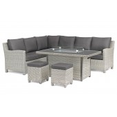 Kettler Palma Right Hand Dining Corner Set with Aluminium Top Fire Pit Table - White Wash