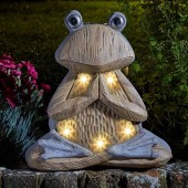 Wood Stone In-Lit Solar Frog by Smart Garden
