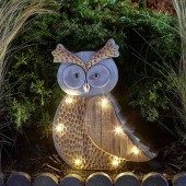 Wood Stone In-Lit Solar Owl by Smart Garden