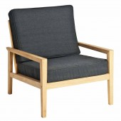 Alexander Rose Roble Lounge Chair with Charcoal Cushions