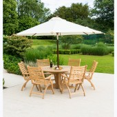 Alexander Rose Roble 6 Seat Folding Armchair and Bengal Table with Parasol Set