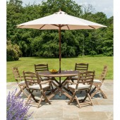Alexander Rose Sherwood 6 Seat Folding Carver with Parasol and Cushions Set