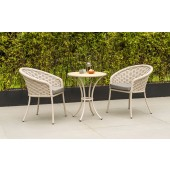 Alexander Rose Cordial Beige Bistro Set with Roble Top