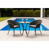 Alexander Rose Cordial Grey Bistro Set with Roble Top