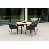 Alexander Rose Cordial Grey 4 Seat Dining Set with Roble Top