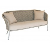 Alexander Rose Cordial 3 Seater Sofa Beige Frame with Beige Rope and Cushion