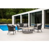 Alexander Rose Cordial Grey Lounge Set with Roble Coffee and Side Table