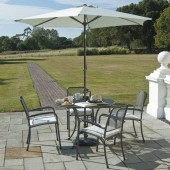 Alexander Rose Portofino 4 Seat Round Set with Parasol