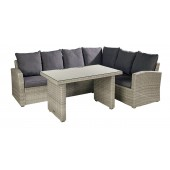 Hartman Linear Rectangular Casual Dining Corner Sofa Set - Cool Grey
