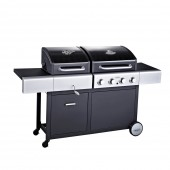 Outback Dual Fuel 4 Burner Hooded Gas and Charcoal BBQ Black