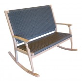 LG Outdoor Panama Rope and Eucalyptus Wood Double Rocker