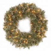 National Tree Company Glittery Bristle Pine 24 inch Wreath with 50 Battery Powered LED Lights