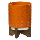 Orla Kiely Ceramic Plant Pot - Sixties Stem Poppy