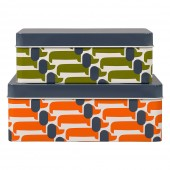 Orla Kiely Set of 2 Storage Tins - Dachshund