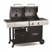 Outback Dual Fuel 2 Burner Hooded Gas and Charcoal BBQ Black