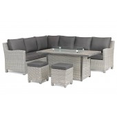 Kettler Palma Right Hand Dining Corner Set - White Wash - With Fire Pit Table
