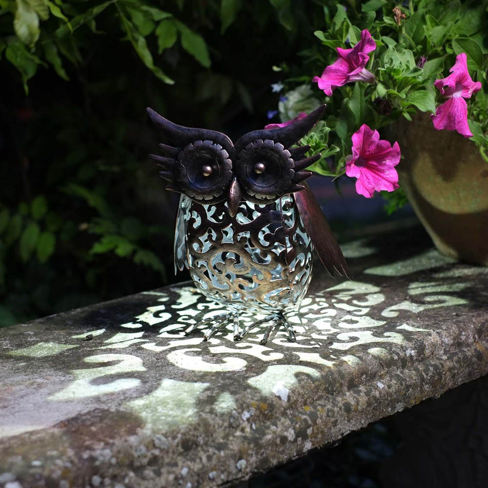 Solar Powered Metal Silhouette Owl Light by Smart Garden