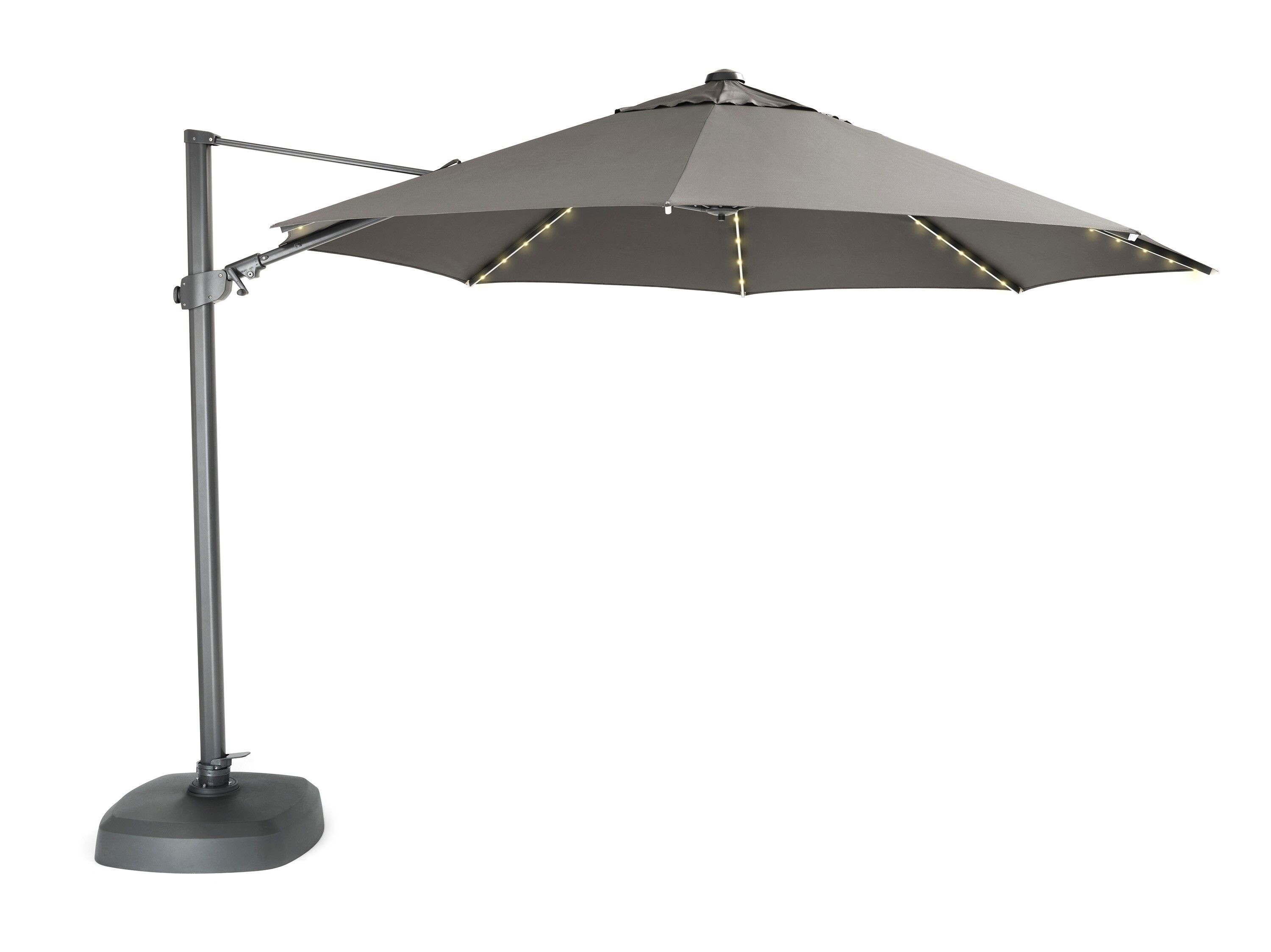 Kettler Parasol Free Arm 3.5m in Taupe with LED Lights and Bluetooth Speaker