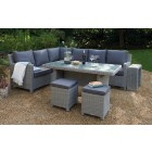 Kettler Palma Right Hand Dining Corner Set with Glass Table - White Wash