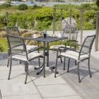 Alexander Rose Portofino 4 Seat Stacking Armchair Square Set