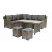 Kettler Palma Right Hand Dining Corner Set with Glass Table - Rattan
