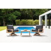Alexander Rose Roble Swivel Lounge Chair with Side Table Set