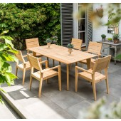Alexander Rose Roble 6 Seat Stacking Armchair Extending Set