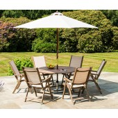 Alexander Rose Sherwood 6 Seat Sling Recliner and Folding Table with Parasol Set