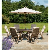 Alexander Rose Sherwood 6 Seat Recliner with Parasol and Cushions Set