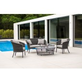 Alexander Rose Cordial Grey Lounge Set - Pebble HPL Coffee and Side Table