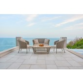 Alexander Rose Cordial Beige Curved Top Sofa and Armchair Set - Roble Top Coffee Table