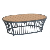 Alexander Rose Cordial Grey Oval Coffee Table - Roble Top